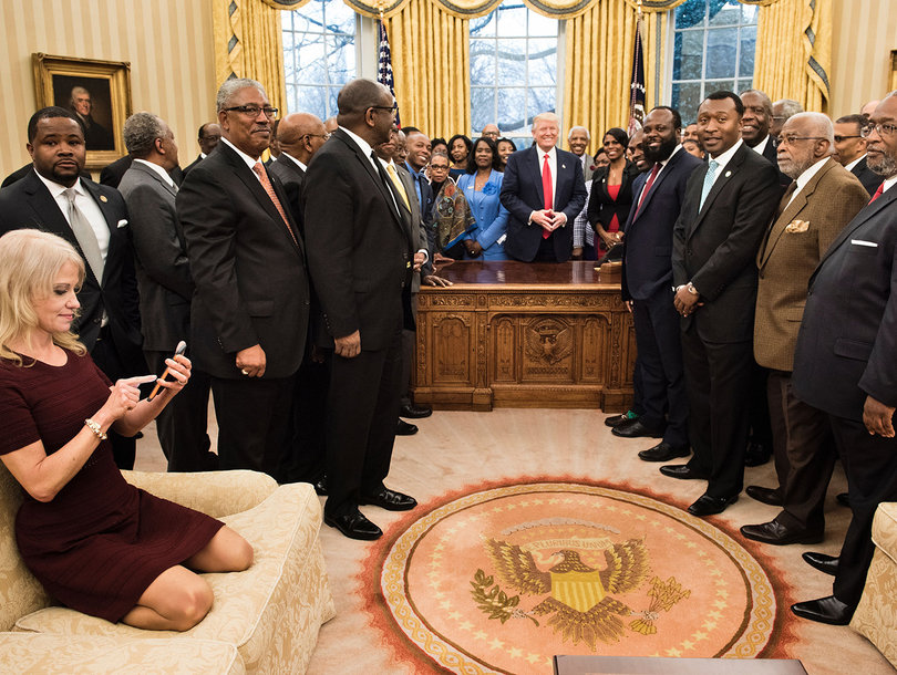Kellyanne Conway Roasted on Twitter Over Comfy Couch Shot From Oval Office (Photos)