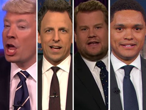 Late-Night Hosts Slam Media for Gushing Over Trump Acting 'Presidential' (Video)