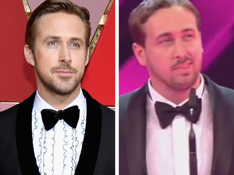 Ryan Gosling Lookalike Pulls Off Epic Prank on Live Awards Show (Video)