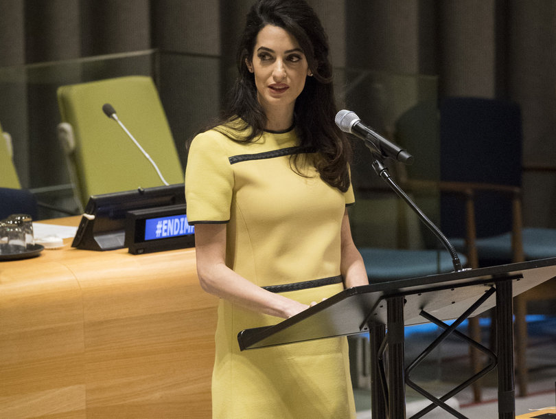 TIME Mag Cares More About Amal Clooney's Baby Bump Than Her Powerful UN Speech and Twitter Is Furious