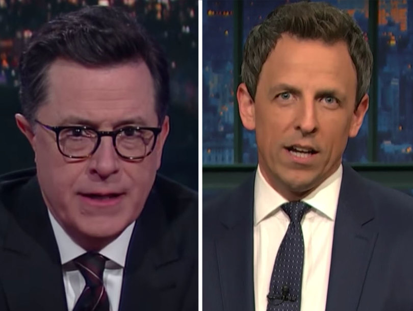 Stephen Colbert, Seth Meyers Dump on Trump Over 'Bring Your Daughter to Govern Day' and 'Freedom Cookies' (Video)
