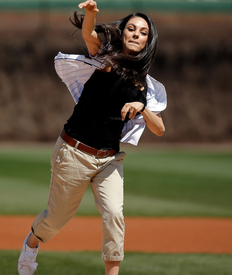 Mila Kunis Throws Out First Pitch at Chicago Cubs Game