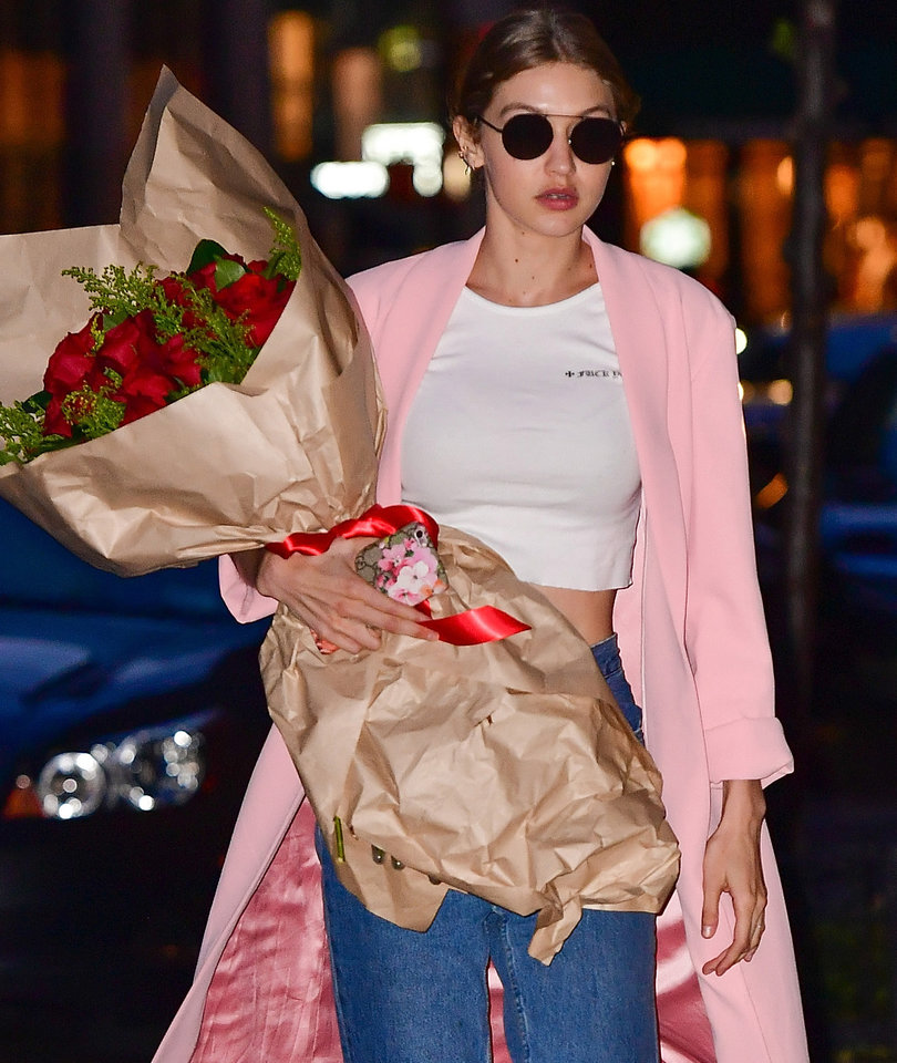 Gigi Hadid Celebrates 22 With Red Roses in NYC