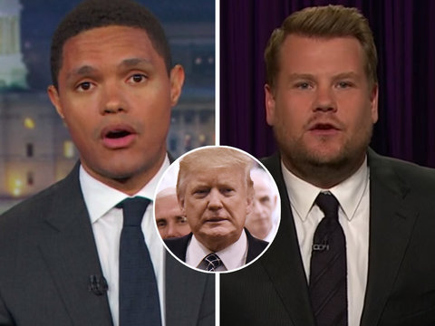 Trevor Noah and James Corden Mock Red Butler Button on Trump's Desk: 'What Could Possibly…