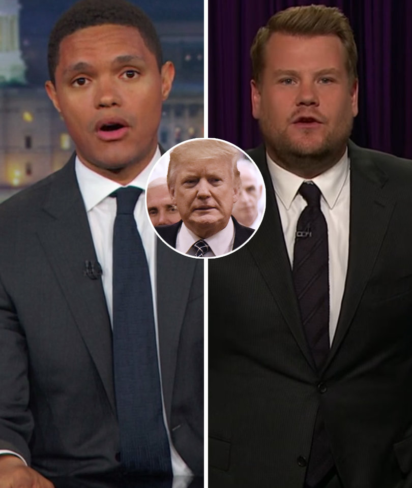 Trevor Noah and James Corden Mock Red Butler Button on Trump's Desk: 'What…
