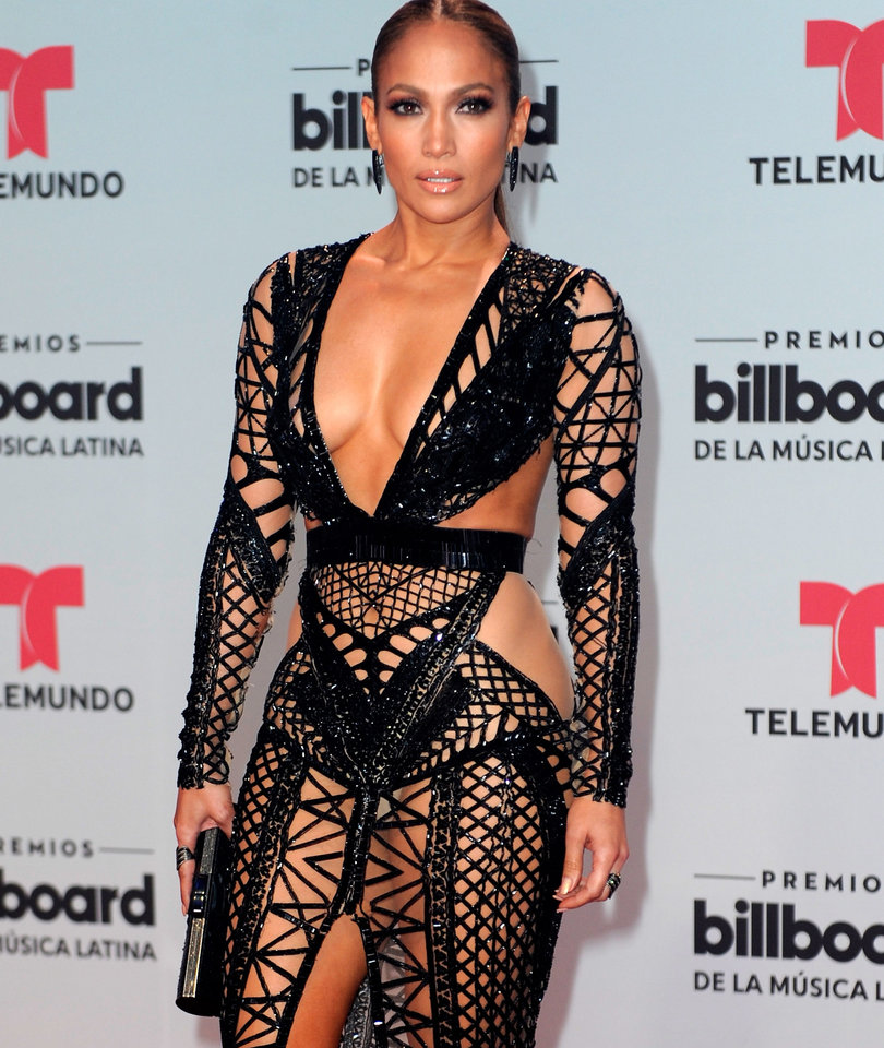 J.Lo Wows In Barely-There Dress At Latin Billboards
