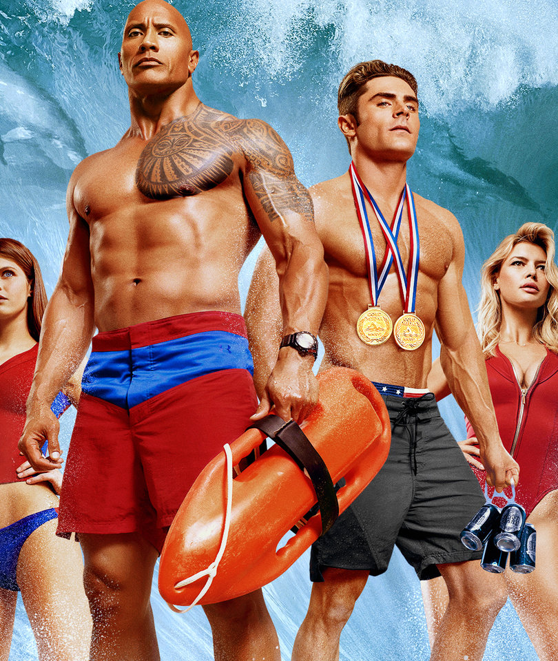The Rock and Zac Efron Lock Lips in 'Baywatch' Red Band Trailer