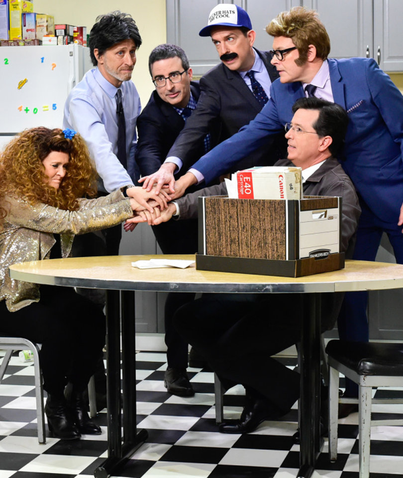 Colbert Hosts Epic 'Daily Show' Reunion With Jon Stewart, Samantha Bee and More