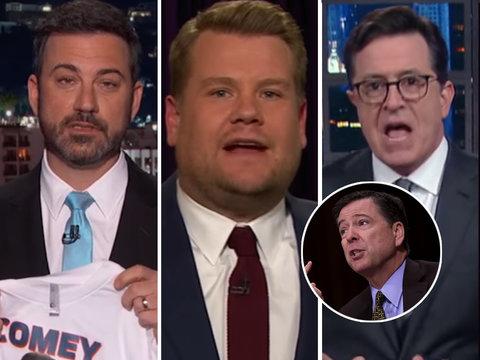 Kimmel, Colbert, Corden Pile On 'Crazy' Trump for Firing FBI Director