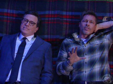 Watch Brad Pitt and Stephen Colbert Bond Over the Meaning of Life