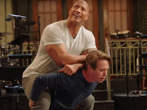 Watch The Rock Literally Carry The Cast of 'SNL' On His Back