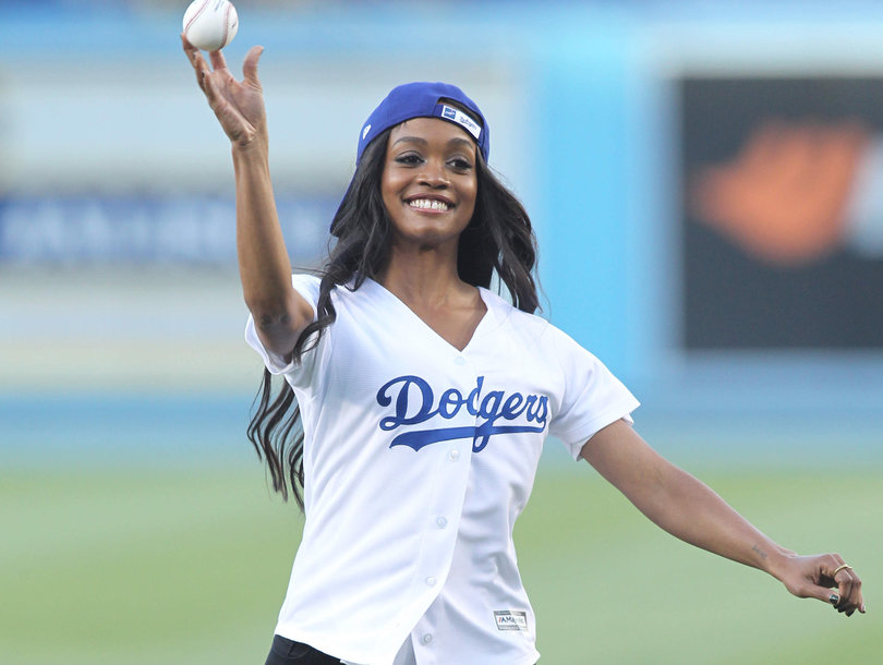 'Bachelorette' Rachel Lindsay Throws Out First Pitch at Dodgers Game