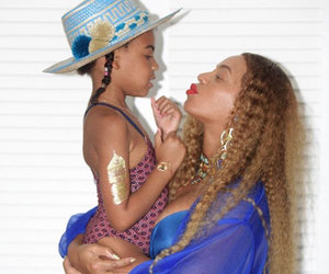 Beyonce Looks Ready to Pop In Blue Bikini with Blue Ivy