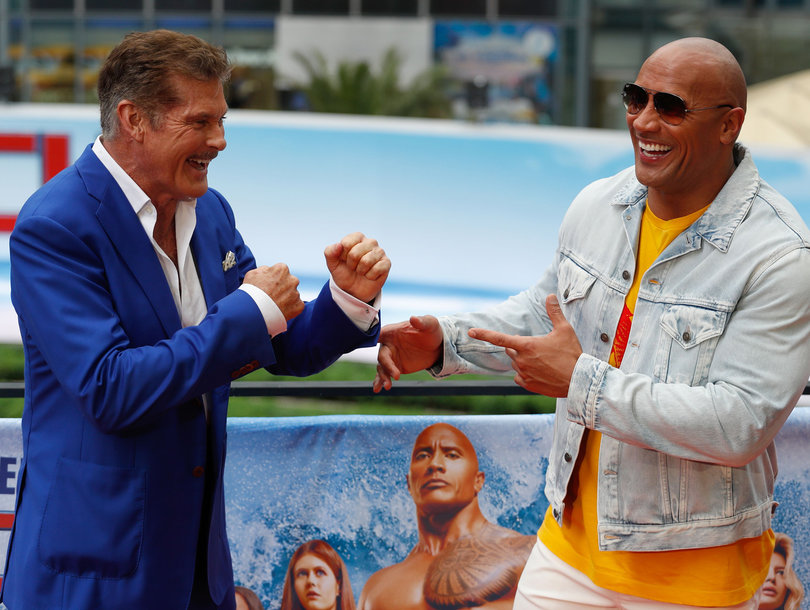 Hasselhoff and Johnson Are Ready to Battle It Out at 'Baywatch' Photocall