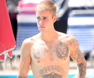 Justin Bieber Shows Off All His Tats While Shirtless in NYC
