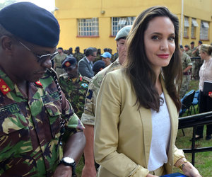 Angelina Jolie Surfaces to Address the Media in Kenya