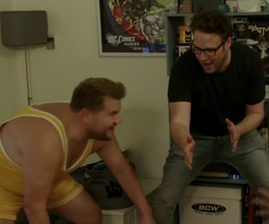 James Corden Wrestles Dominic Cooper in Stranger's Living Room
