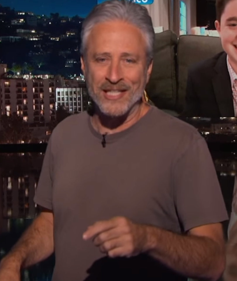 Jon Stewart Crashes 'Jimmy Kimmel Live!' to Berate Jewish Teenager