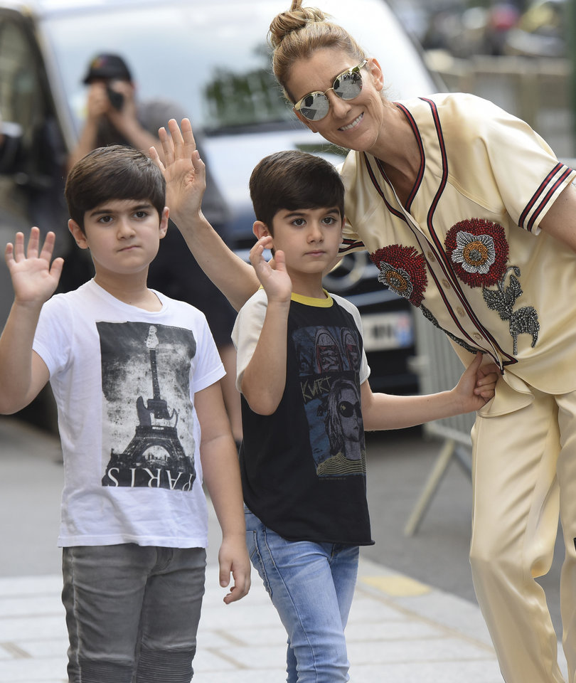 Celine Dion Spotted Out in Paris with Twin Sons