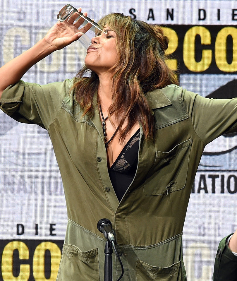 Halle Berry Chugs Whiskey Like a Champ at Comic-Con 2017
