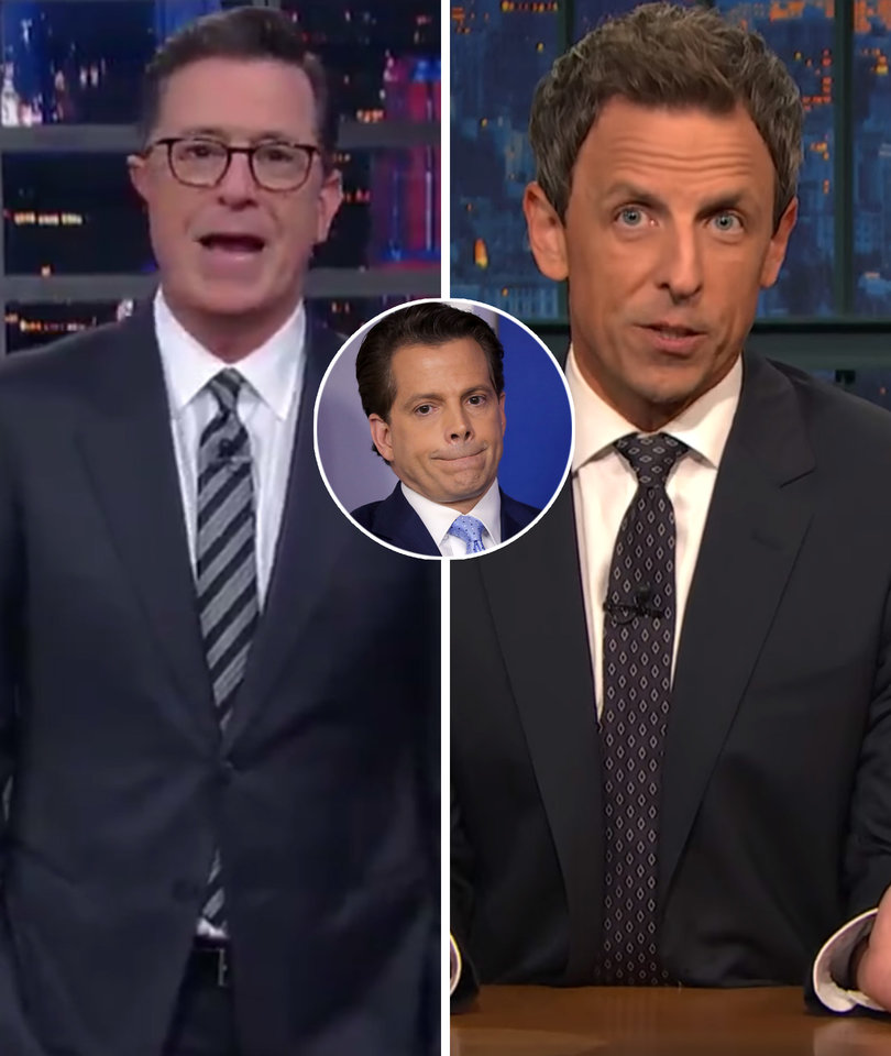 Stephen Colbert, Seth Meyers Debut First Scaramucci Jokes