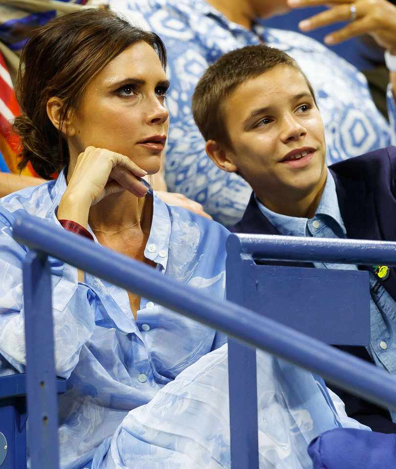 Victoria Beckham and Son Romeo Attend the US Open in NYC