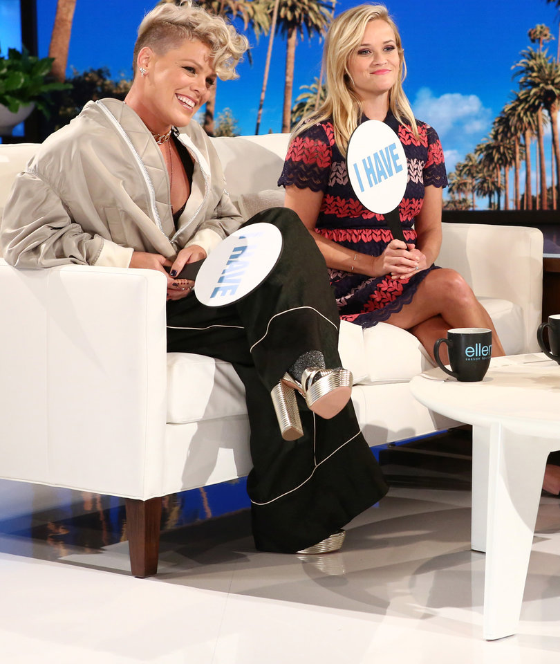 Public Sex? Lap Dances? Reese, P!nk and Ellen Play 'Never Have I Ever'