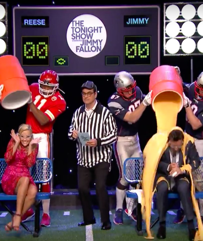 Reese Witherspoon Kicks Jimmy Fallon's Ass In Messy Game