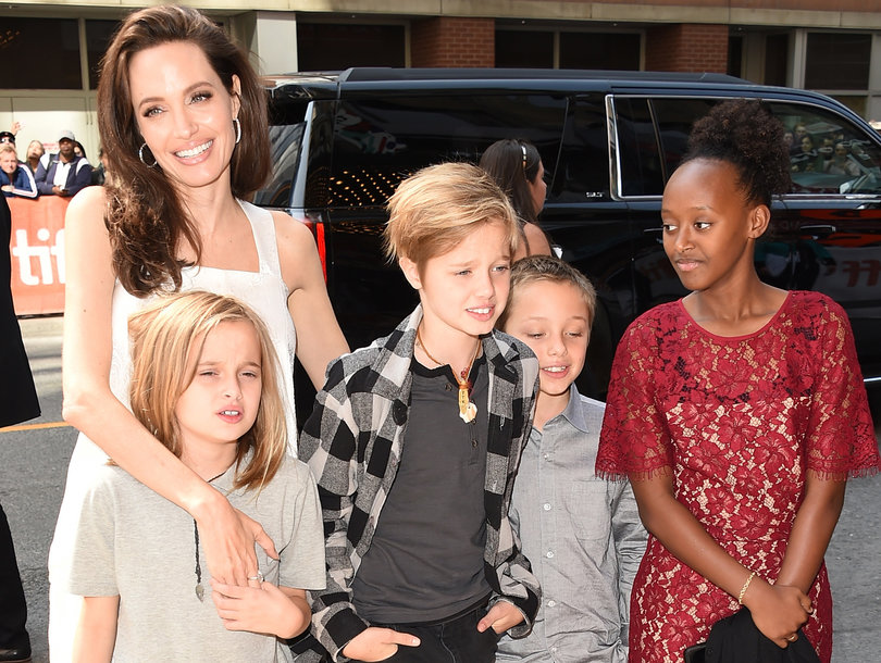 Angelina Jolie Attends Toronto International Film Festival with Four of Her Kids