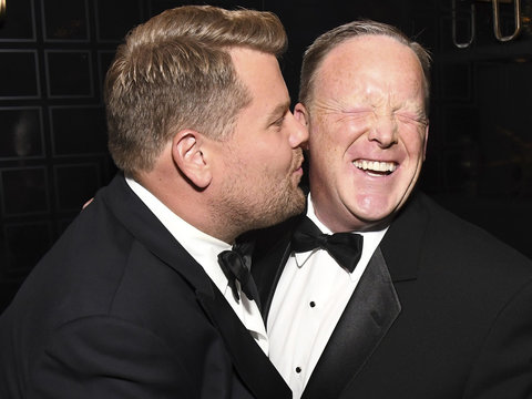 Corden 'Canceled' for Kissing Spicer at the Emmys: Savage Twitter Reactions