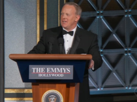 Sean Spicer Crashes Emmys to Help Colbert Mock Trump