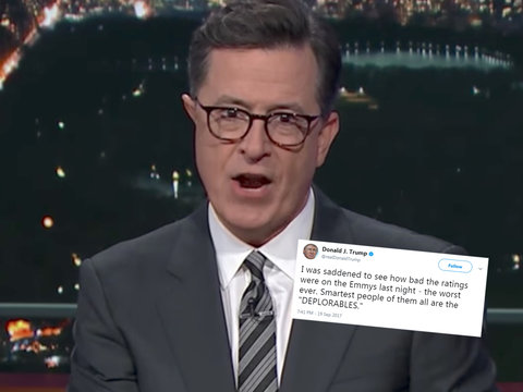 Colbert Rips Apart Trump's 'Factually Incorrect' Emmys Tweet