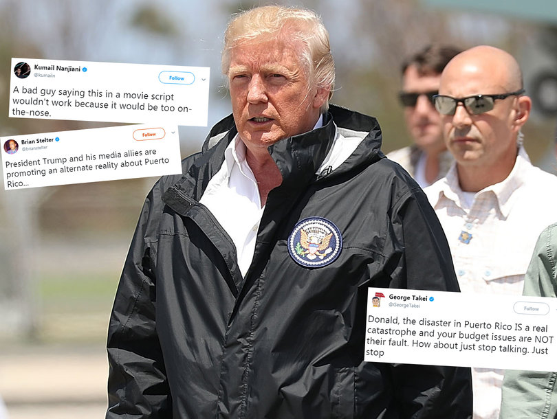 Hollywood and Beyond Bashes Trump for Puerto Rico Visit: 'Just Stop Talking'
