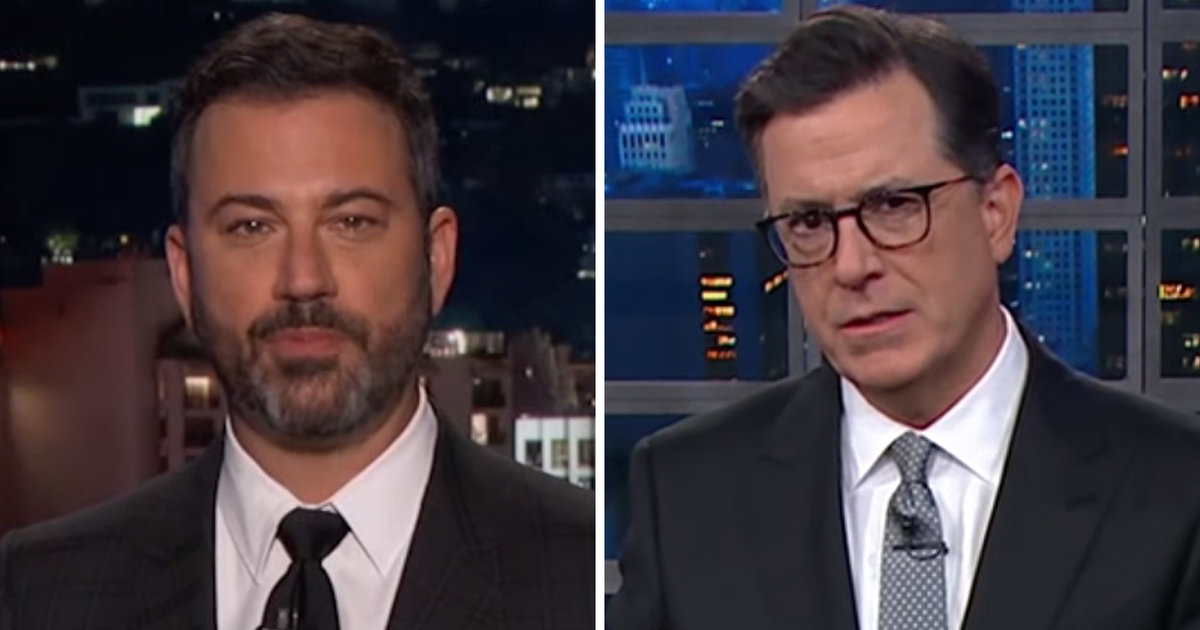 Kimmel, Colbert Point Out Absurdity in Saying Now Is Not the Time to Talk Gun Control
