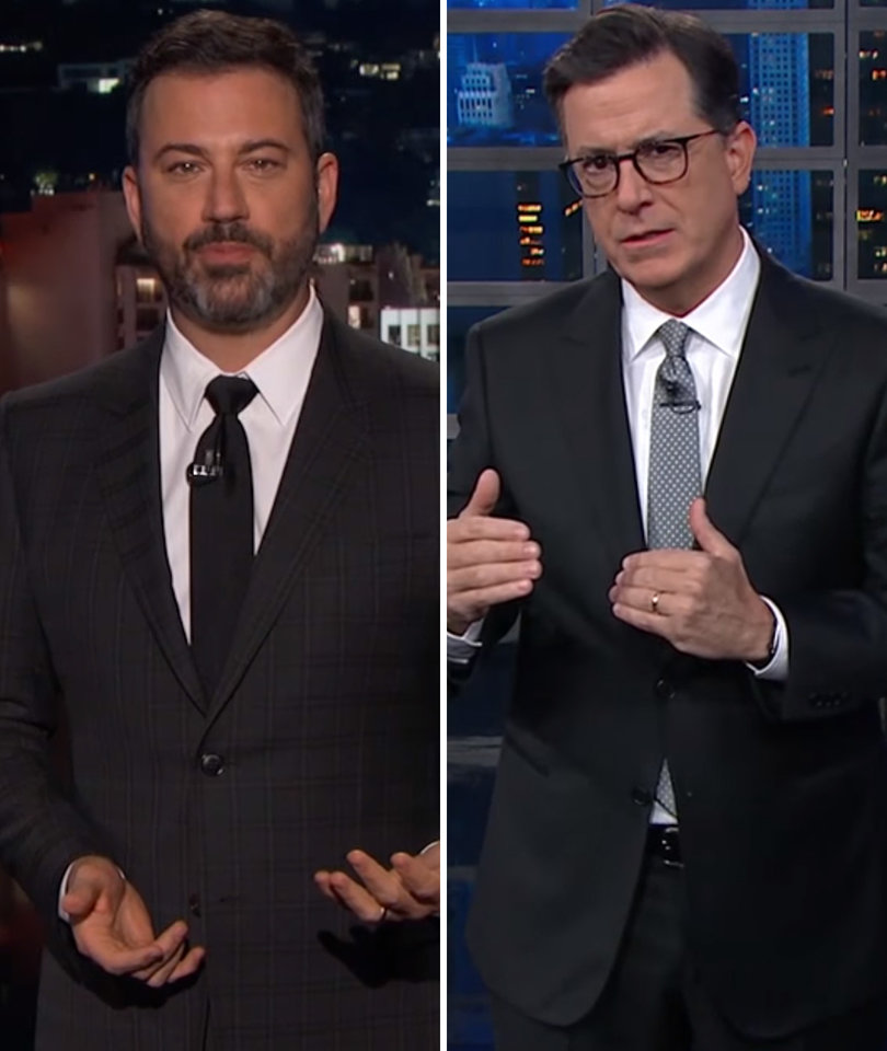 Kimmel, Colbert Rip Those Saying Now Is Not the Time to Talk Gun Control