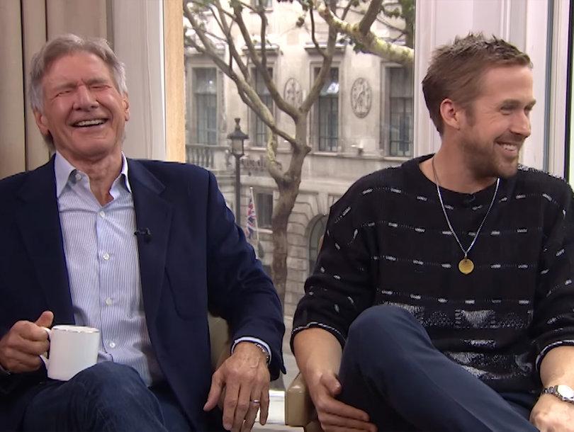 Ryan Gosling Breaks Out Booze Alongside Harrison Ford as Interview Goes Off the Rails