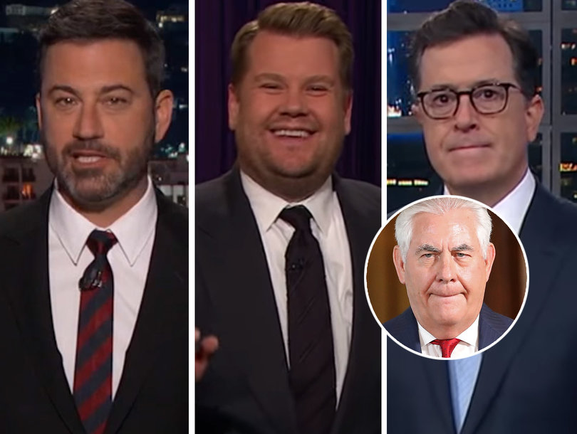 Late-Night Hosts Can't Stop Laughing at Rex Tillerson Reportedly Calling Trump 'A Moron'
