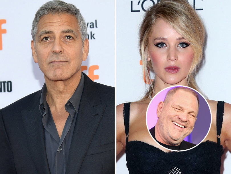 George Clooney, Jennifer Lawrence Slam Harvey Weinstein's 'Gross,' 'Indefensible' Sexual Harassment