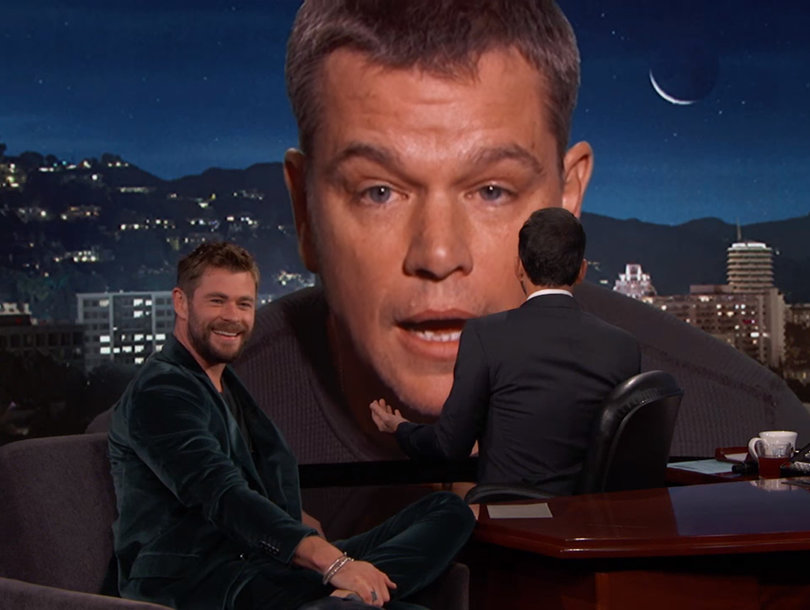 Matt Damon Crashes Chris Hemsworth's Jimmy Kimmel Interview