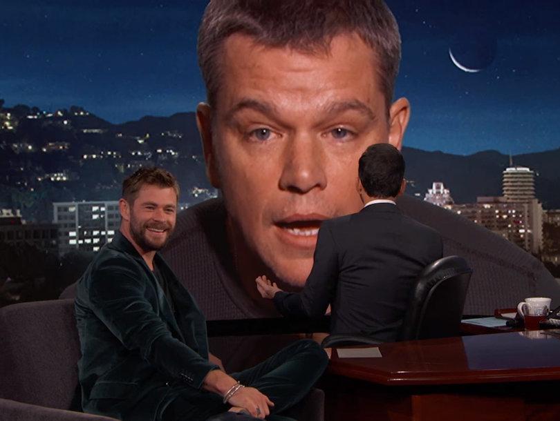 Matt Damon Crashes Chris Hemsworth's Jimmy Kimmel Interview: 'I Hacked Into the System'