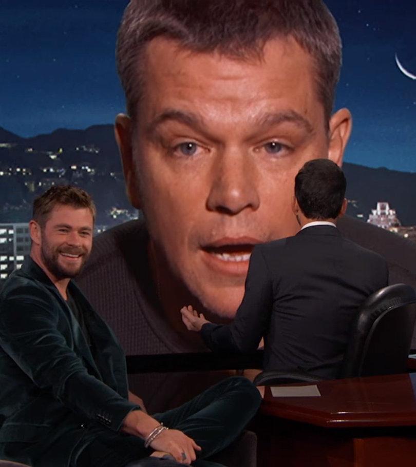 Matt Damon Crashes Chris Hemsworth's Jimmy Kimmel Interview