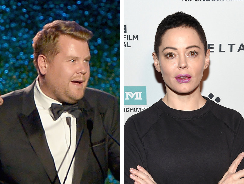Rose McGowan Slams James Corden for Harvey Weinstein Jokes: 'YOU MOTHERF-CKING PIGLET'