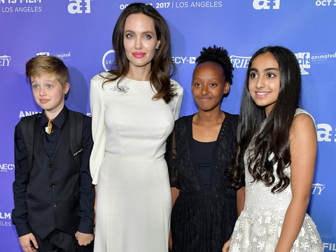 Shiloh and Zahara Join Angelina Jolie on the Red Carpet