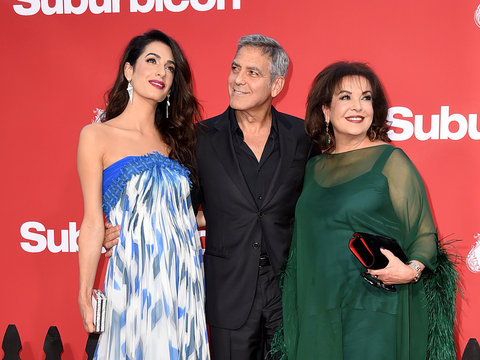 George Clooney Joined by Amal and Mother-In-Law at 'Suburbicon' Premiere