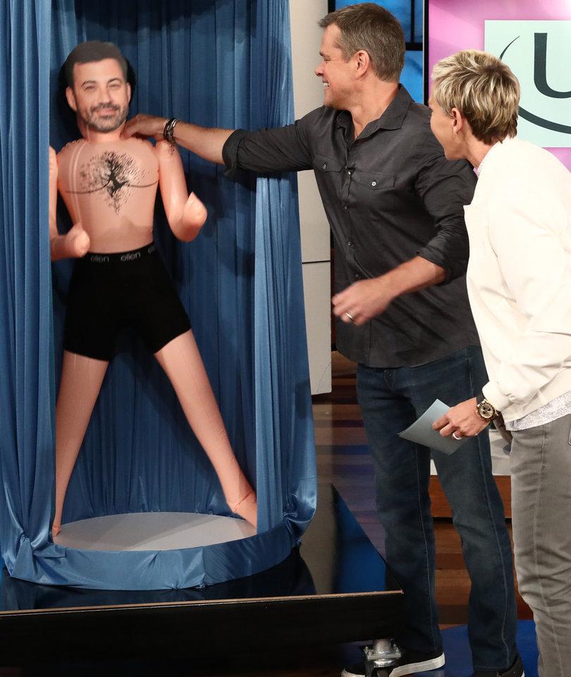 Ellen Tricks Matt Damon Into Becoming a Kimmel Blow-Up Doll Salesman