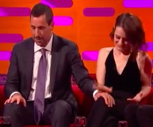 People Freak Out Over Adam Sandler Touching Claire Foy's Leg