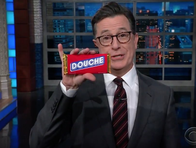 Stephen Colbert Snickers at 'Total Douche' Donald Trump Jr for Socialism Halloween Candy Joke