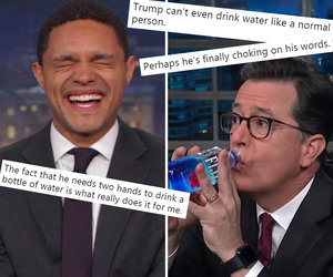 Late-Night Stars and Twitter LOL at Trump for That Awkward Press Conference Water Break