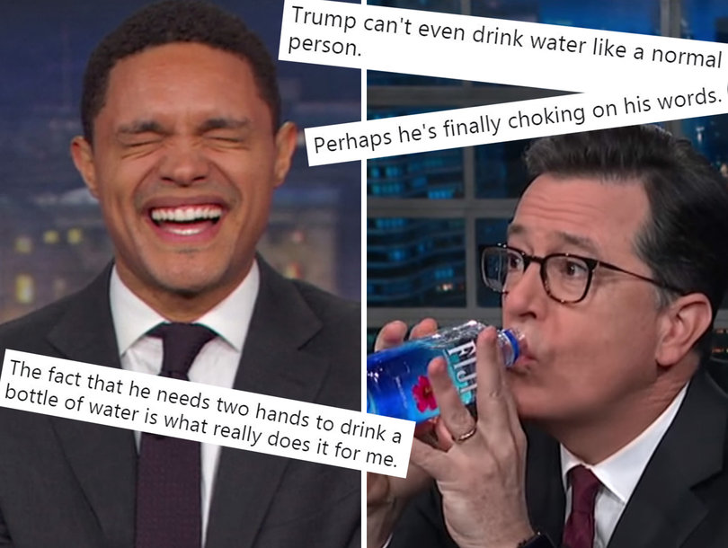 Late-Night Stars and Twitter LOL at Trump for Press Conference Water Break
