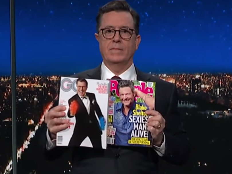 Stephen Colbert Refuses to Accept Blake Shelton as Sexiest Man Alive: 'He's a Solid 7'